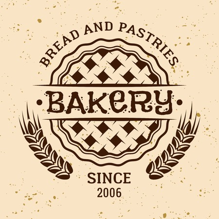 Bakery vintage vector round emblem, label, badge or logo with pie and wheat on light colored background