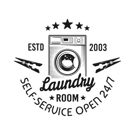 Emblème de vecteur de buanderie avec machine à laver dans un style monochrome vintage isolé sur fond blanc