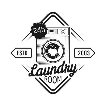 Emblème de vecteur de buanderie, étiquette, badge ou logo avec machine à laver dans un style monochrome vintage isolé sur fond blanc