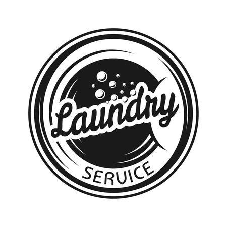 Service de blanchisserie vecteur rond emblème noir, étiquette, badge ou logo dans un style monochrome vintage isolé sur fond blanc