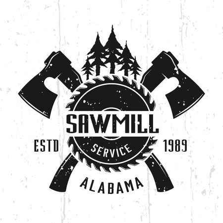 Sawmill service and woodworks monochrome vector emblem, badge, label or logo in vintage style isolated on background with removable textures