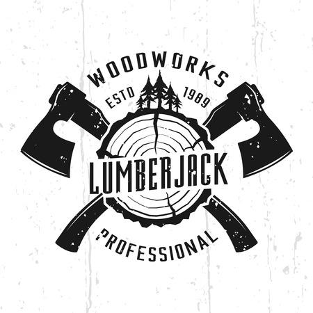 Holzfäller und Holzarbeiten monochromes Vektoremblem, Abzeichen, Etikett oder Logo im Vintage-Stil einzeln auf Hintergrund mit abnehmbaren Texturen