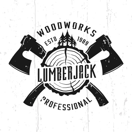 Lumberjack and woodworks monochrome vector emblem, badge, label or logo in vintage style isolated on background with removable textures