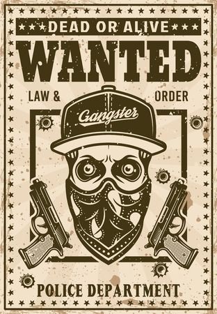 Modern gangster skull in snapback hat and bandana on face wanted poster in vintage style vector illustration. Layered, separate grunge texture and text Illustration