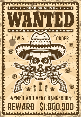 Mexican bandit skull in sombrero and two crossed pistols wanted poster in vintage style vector illustration. Layered, separate grunge texture and text