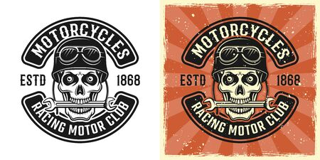 Skull of biker in helmet with wrench in teeth vector emblem, badge, label, logo or t-shirt print in two style monochrome and vintage colored Illustration