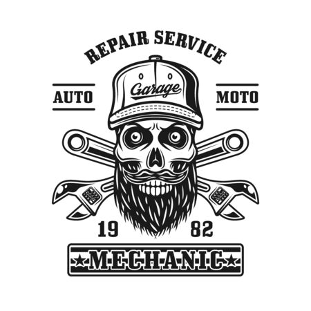 Repair service vector emblem, label, badge or logo with mechanic skull in monochrome vintage style isolated on white background Vectores