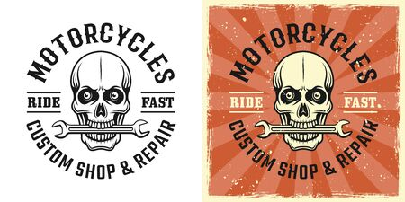 Skull of mechanic with wrench in teeth vector emblem, badge, label, t-shirt print in two style monochrome and vintage colored
