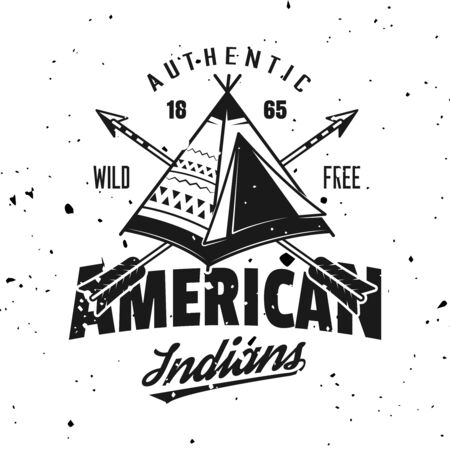 Indian wigwam vector emblem, label, badge in vintage monochrome style isolated on background with removable grunge textures
