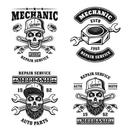 Repair service and mechanic set of four vector emblems, badges, labels, stamps in vintage monochrome style isolated on white background