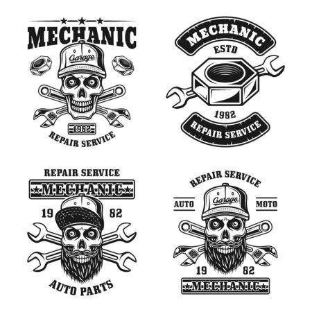 Servizio di riparazione e set meccanico di quattro emblemi vettoriali, distintivi, etichette, timbri in stile vintage monocromatico isolato su sfondo bianco