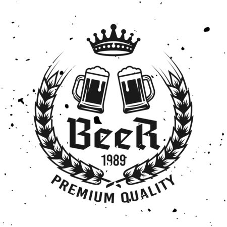 Two beer mugs vector emblem, label, badge, stamp   in monochrome vintage style isolated on background with removable grunge textures