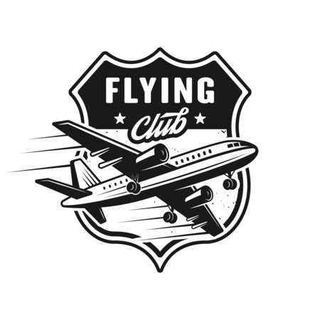 Airplane vector emblem, label, badge for flying club in vintage monochrome style isolated on white background