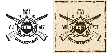Sheriff western vector emblem, badge, label or t-shirt print in two style monochrome and vintage colored