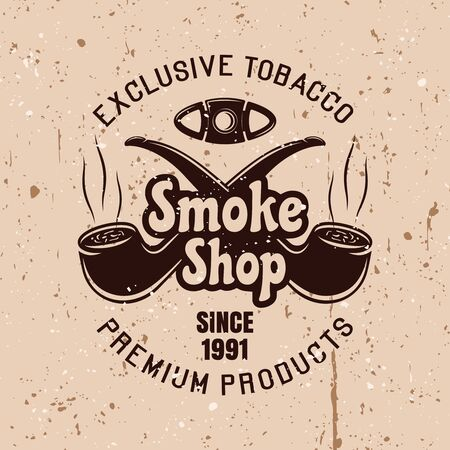 Smoke shop vector vintage emblem with two crossed smoking pipes on background with grunge textures Ilustração