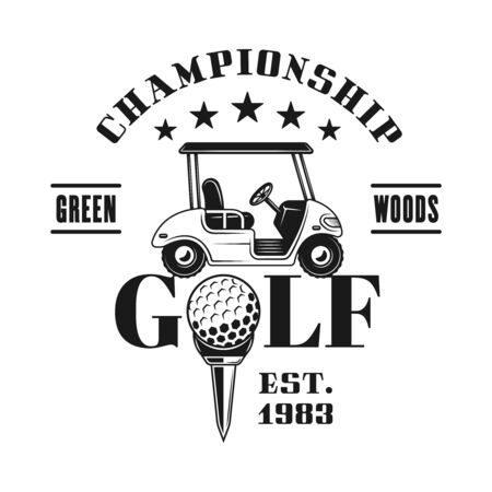 Golf cart vector emblem, badge, label for sport championship in vintage monochrome style isolated on white background