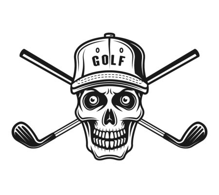 Skull of golfer in cap and two crossed golf sticks vector object or design element in monochrome vintage style isolated on white background