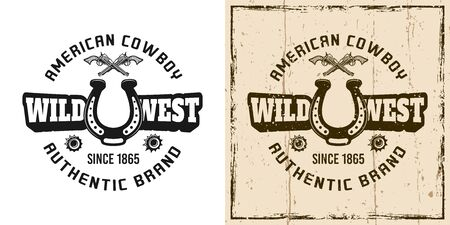Wild west vector emblem, badge, label or t-shirt print in two style monochrome and vintage colored