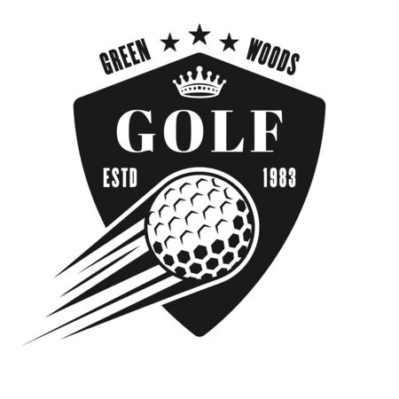 Golf vector shield emblem, badge, label in vintage monochrome style isolated on white background