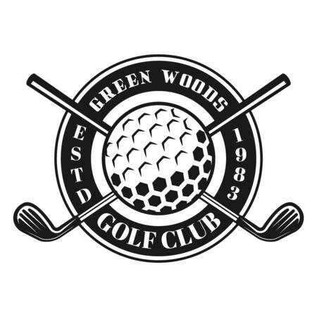 Golf ball and crossed golf sticks vector emblem, badge, label in vintage monochrome style isolated on white background Ilustração
