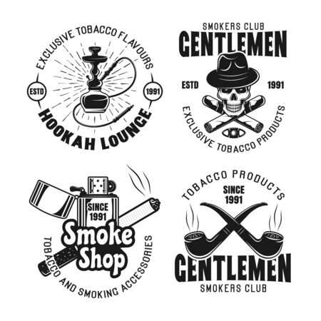 Gentleman smokers club, hookah lounge set of vector emblems, labels, badges in vintage monochrome style isolated on white background Ilustração
