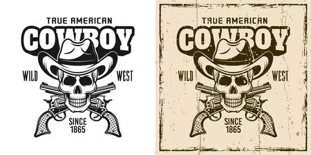 Cowboy skull and crossed pistols vector emblem, badge, label t-shirt print in two style monochrome and vintage colored