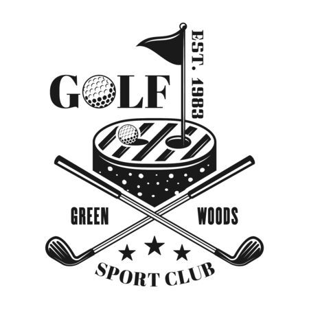 Golf vector emblem, label, badge in vintage monochrome style isolated on white background