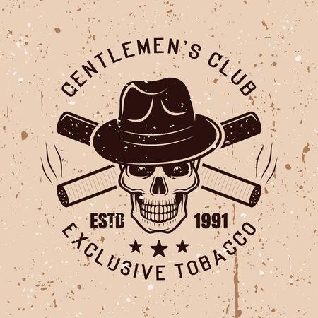 Gentleman skull in hat and crossed cigarettes vector vintage emblem on background with grunge textures Stock Illustratie