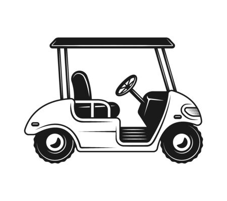 Golf cart or buggy side view vector monochrome object, design element in vintage style isolated on white background Vettoriali