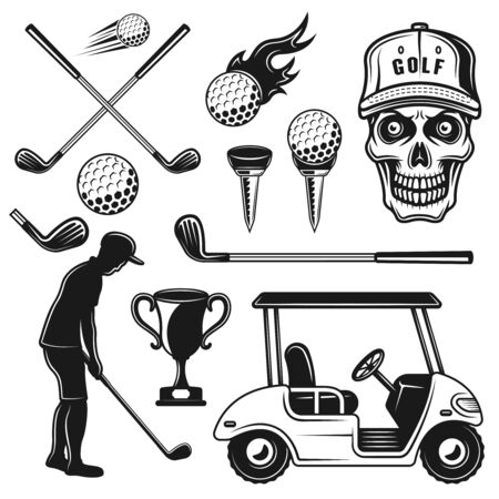 Golf attributes and equipment vector objects or design elements in monochrome vintage style isolated on white background
