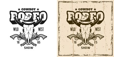 Rodeo show vector emblem, badge, label or t-shirt print with bull skull in cowboy hat in two style monochrome and vintage colored Ilustração