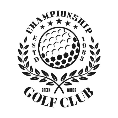 Golf club vector emblem, label, badge in vintage monochrome style isolated on white background