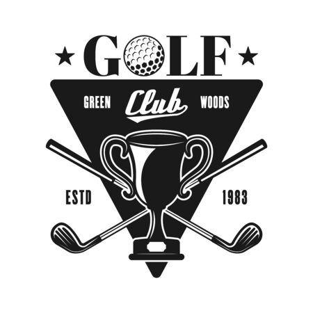 Golf vector emblem, badge, label for sport club in vintage monochrome style isolated on white background
