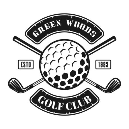 Golf club vector emblem, badge, label in vintage monochrome style isolated on white background