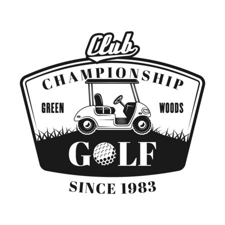 Golf cart vector emblem, badge, label in vintage monochrome style isolated on white background Foto de archivo - 127508494