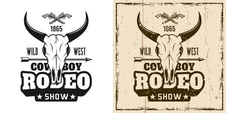 Rodeo show vector emblem, badge, label or t-shirt print in two style monochrome and vintage colored Ilustração