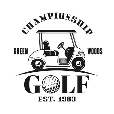 Golf cart vector emblem, label, badge in vintage monochrome style isolated on white background Foto de archivo - 127740563