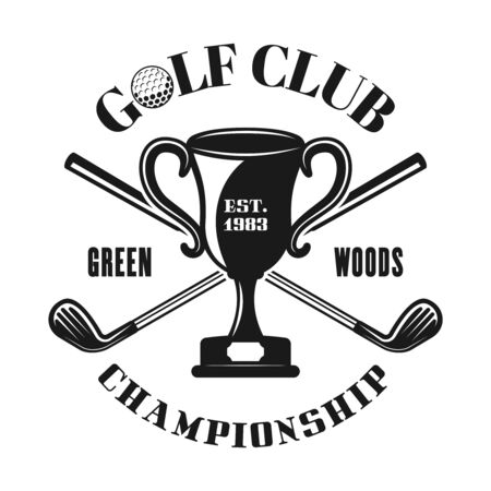 Champion cup and crossed golf sticks vector emblem, badge, label in vintage monochrome style isolated on white background Ilustração