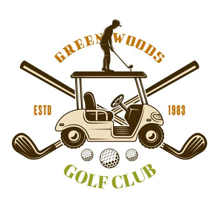 Golf car and crossed golf sticks vector emblem, badge, label. Vintage colored illustration isolated on white background