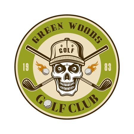 Golf club vector round emblem, badge, label with skull in hat. Vintage colored illustration isolated on white background