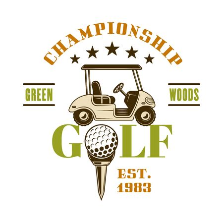 Golf cart vector emblem, badge, label for sport championship. Vintage colored illustration isolated on white background