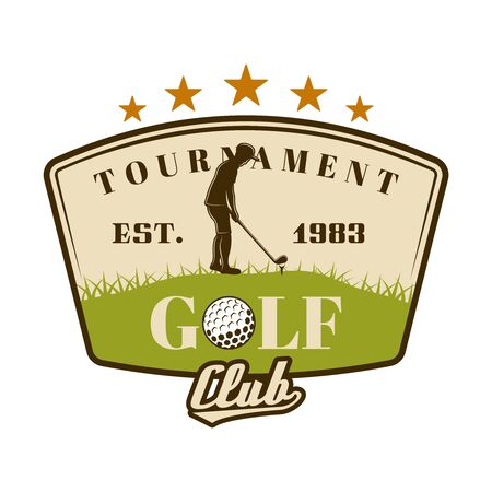 Golf tournament vector shield emblem with golfer. Vintage colored illustration isolated on white background