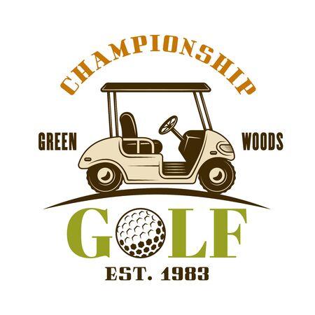 Golf cart vector emblem, label, badge. Vintage colored illustration isolated on white background