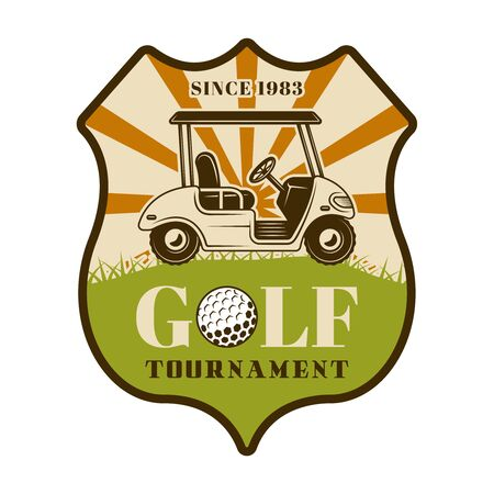 Golf tournament vector shield emblem, badge, label with car. Vintage colored illustration isolated on white background