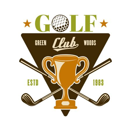Golf vector emblem, badge, label with champion cup. Vintage colored illustration isolated on white background