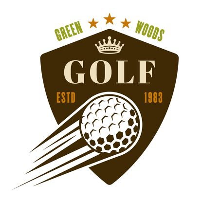 Golf vector shield emblem, badge, label with flying ball. Vintage colored illustration isolated on white background Foto de archivo - 127740652