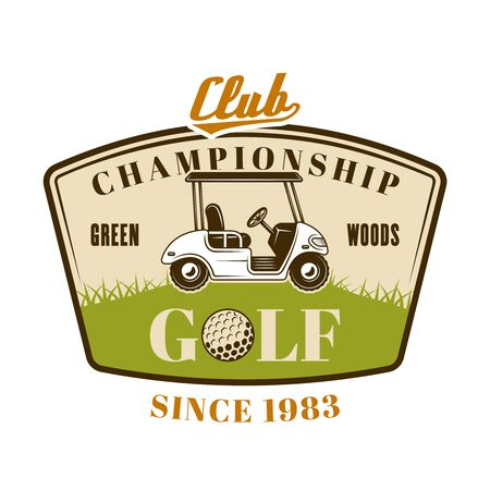 Golf cart vector emblem, badge, label. Vintage colored illustration isolated on white background Foto de archivo - 127740648