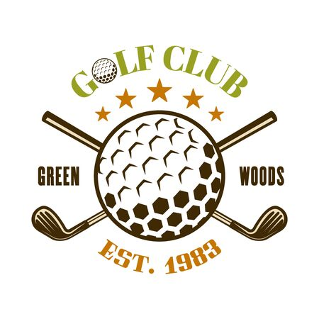 Golf club vector emblem, label, badge with ball and crossed golf sticks. Vintage colored illustration isolated on white background Ilustração