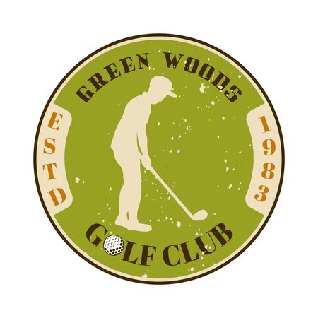 Golf club vector round emblem with silhouette of golfer. Vintage colored illustration isolated on white background