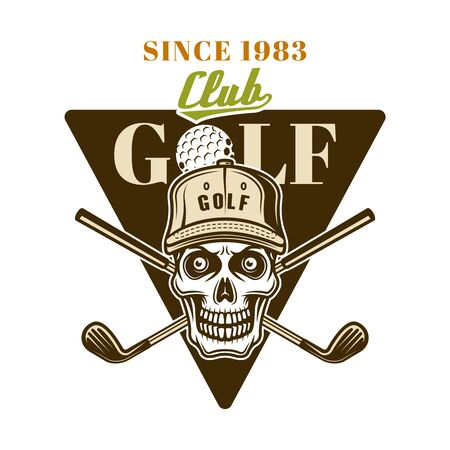 Golf vector emblem, badge, label  with skull. Vintage colored illustration isolated on white background